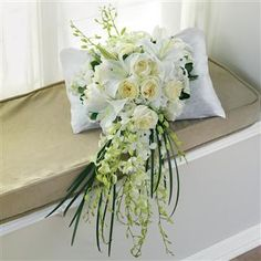 White Roses, Lilies and Orchids Large Bridal Bouquet