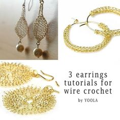 christmas -wish:  CROCHET jewelry PATTERN 3 Wire earrings PDF  tutorials  sunflower hoops drop earrings wire jewelry patterns wire work how to crochet wire. $19.90, via Etsy.
