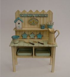 Shabby Chic Potting Bench / Nikki / 1:12 Dolls House / Garden. £32.00, via Etsy.