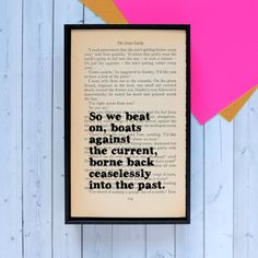 The Great Gatsby  So we beat on  Framed Quote  by BookishlyUK