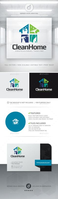 Clean Home Logo EPS Template • Download ➝ https://graphicriver.net/item/clean-home-logo/13340019?ref=pxcr