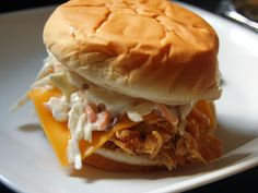 Cassie Craves: Slow Cooker Chicken Bacon Ranch Sandwiches with Ranch Slaw Real Food Recipes, Great Recipes, Snack Recipes, Cooking Recipes, Favorite Recipes, Yummy Food, Healthy Food, Slow Cooker Recipes, Crockpot Recipes