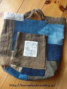 I made a new linen bag with a new denim remake bag: kokochi lived well. Diy Bags Purses, Diy Purse, Diy Sac, Recycle Jeans, Handmade Purses, Linen Bag, Recycled Denim, Denim Bag, Fabric Bags