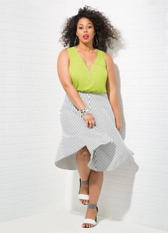 "Looking for a fashionable Plus Size Outfit? Ashley Stewart ""Color Pop"": Zip Neck Hi-Lo Tank + Striped Neoprene Flare Skirt + Colorblock Dress Sandal - Wide Width, total price for the entire look: $79.45 only! Click to get all the details and more colors  {affiliate link}"