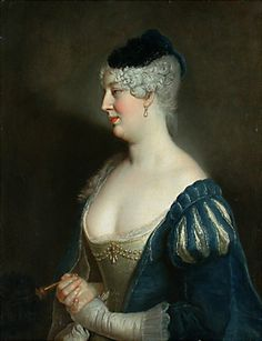 1726 Henriette von Zerbsten by Antoine Pesne, slashed sleeves, decollete neckline