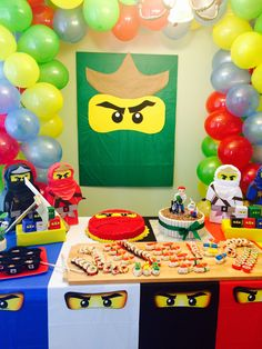Ninjago Birthday Party Ninjago Birthday Party Lego in Ninjago Birthday Party Ideas - Party Supplies Ideas Lego Ninjago, Ninjago Party, Ninja Birthday Parties, Birthday Party Decorations, 7th Birthday, Birthday Ideas, Festa Ninja Go, Deco Lego, Lego Themed Party