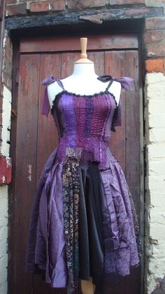 Upcycled Dress  Woman's Clothing Purple Aubergine Violet Black Steampuk Patchwork Fairy Tattered Fairy Doll. $324.00, via Etsy.