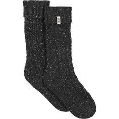 Ugg Women's Shaye Tall Rainboot Sock ($39) ❤ liked on Polyvore featuring intimates, hosiery, socks, black, tall socks, cuff socks, ribbed socks, logo socks and cable knit socks