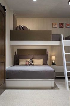 46 Fabulous Kids Bunk Beds Design Ideas That You Need To Try - Parents love buying bunk beds for their kids if they are sharing a room. The stacked beds are ideal for bedroom with small space. Bunk beds have been . Bunk Beds For Boys Room, Bunk Bed Rooms, Bunk Beds Built In, Modern Bunk Beds, Kid Beds, Bunk Beds For Adults, Queen Bunk Beds, Cool Bunk Beds, Built In Beds For Kids