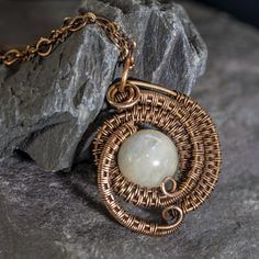 Beautiful Moonstone Woven Wire Pendant and by QuirkyCurveJewellery