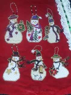 Counted Cross Stitch and Beaded Mill Hill Ornaments.