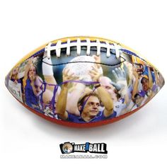 Find out how to design a customized football with personal photos, text, and graphics. The panel that contains the design has a full, smooth and glossy finish. They make perfect gifts for anyone in your life who is an athlete, coach, fan, anyone who loves football! Check out more sports and athletic gift ideas at makeaball.com