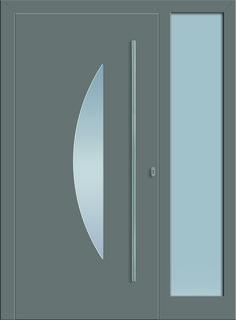Modell Megrez 1 Aluminium-Eingangstüre in grau mit Seitenteil - Außenansicht! Sternstunden-Türen erhätlich bei Fenster-Schmidinger aus Gramastetten in Oberösterreich! #doors #türen #alutüren #sternstunden