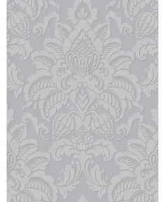 Precious Metals Glisten Damask Wallpaper - Platinum - Arthouse 673203