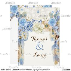 Shop Boho Tribal Dream Catcher Watercolor Blue Beige Invitation created by HydrangeaBlue. Watercolor Dreamcatcher, Watercolor Feather, Zazzle Invitations, Party Invitations, Tribal Wedding, Wedding Invitations Australia, Create Your Own Invitations, Boho, White Envelopes