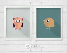 Printable Nursery Art. Animal posters set of 2. Owl. Bird. 8x10 Children's illustration. Wall art. Home decor.Instant download.
