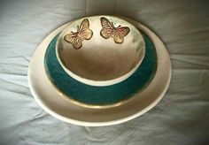 White and blue plate and butterfly bowl