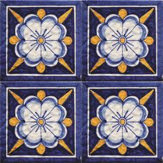 Flower Power Times 4 in Blue and White and Yellow