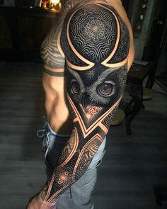 Full Sleeve Tattoo Designs For Men - Best Sleeve Tattoos For Men: Cool Full Slee.Full Sleeve Tattoo Designs For Men - Best Sleeve Tattoos For Men: Cool Full Sleeve Tattoo Ideas and Designs Full Sleeve Tattoo Design, Owl Tattoo Design, Tribal Sleeve Tattoos, Best Sleeve Tattoos, Tattoo Designs Men, Sleeve Tattoo Men, Design Tattoos, Tattoos Skull, Geometric Tattoos