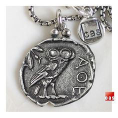 Sterling Silver Greek Classical Owl Coin Tetradrachm Pendant Necklace ( V-Owl )