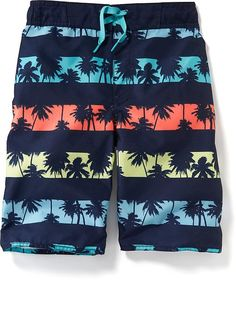Palm-Tree Print Swim Trunks for Boys
