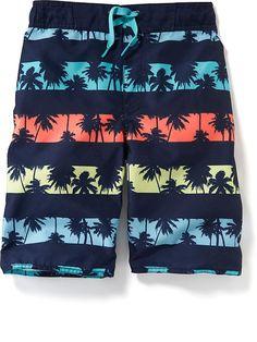 Palm-Tree Print Swim Trunks for Boys