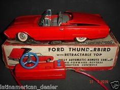 LOT OF 2 BATTERY OPERATED TOY CARS BOXED CRAGSTAN LINCOLN & FORD THUNDERBIRD