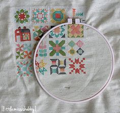 Quilty Stitches Block #16--The Last One!! =) Thank you so much everyone for following along! I can't believe this stitch along is coming to a close. I went back to check on the date of wh...