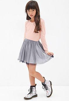 Girls Puffed Sleeve Jersey Tee (Kids) | Forever 21 girls - 2000117160
