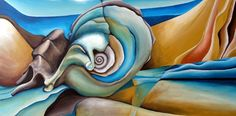 Abstract painting of a shell by Amiria Gale. Seashell Painting, Seashell Art, Student Art Guide, O Keeffe Paintings, Shell Drawing, Natural Form Art, High School Art Projects, Seascape Art, Painted Shells