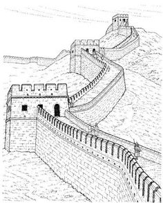 Pencil Sketches of the Great Wall of China - Virtual University of Pakistan, Building Drawing, Building Sketch, Wall Drawing, Line Drawing, Drawing Faces, Drawing Tips, World Icon, Famous Architecture, Great Wall Of China