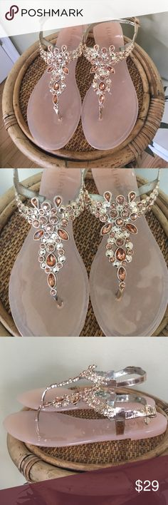 "EMBELLISHED JELLY SANDALS Brand new in box.  These are so pretty.  Metallic rose gold, vegan adjustable straps,  faux crystal accents, blush pink rubber insole.  These measure from heel to toe 10.5"".  They are a size 10 but fit more like a 9.5.. TRADESLOWBALL OFFERSMODELING Liliana Shoes Sandals"