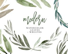 Watercolor Leaves Clipart, Modern Leaf Wreath, Green Branch, Eucalyptus Clipart, Garden Wedding Clipart, Tropical, Olive, Greenery, Rustic