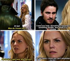 Some part of her remembers him! It is written on her face! Captain Swan! <3 Either that or she is too confused about it all. I mean, Captain Hook DID just kiss her.