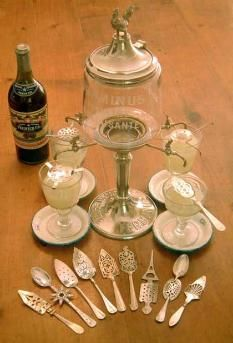 absinthe fountain and spoons - Reminds me of the after party at the Scream Awards.