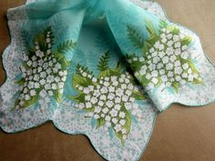Vintage Hankie Lily of the Valley on Turquoise Aqua Cotton
