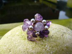 Rings. Amethyst Ring size N. Pretty ladies Amethyst cluster ring. Ideal gift. Birthday gemstone jewellery. Statement rings. Genuine gemstone by Twinkletoesjewellery on Etsy