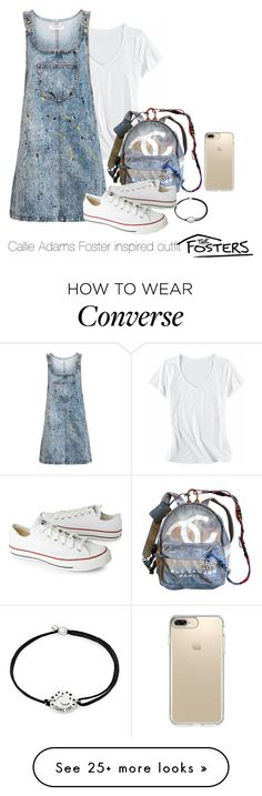 """Callie Adams Foster inspired outfit"" by tvdsarahmichele on Polyvore featuring Horny Toad, Topshop, Alex and Ani, Chanel, Converse and Speck"