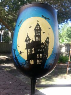 Halloween Moon Haunted House Hand Painted Wine Glass