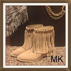 """Fringe Fabulous Michael Kors Ankle Boots 6 Super sexy ladies - here are the perfect boots for you. Michael Kors """"Biilly"""" Tan/Beige Suede Leather upper embellished with fabulous fringe and gold studs. NWOT Display Boots (Very minor signs of shelf/handling wear). Look amazing in MK♥️♥️♥️ Michael Kors Shoes Ankle Boots & Booties"""