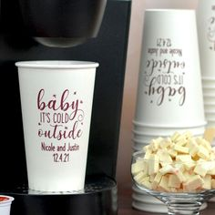 A step up from your average paper cup, these sturdy, wax lined 16 oz cups are made of thick white paper that won't collapse or get soggy. Have yours printed with your favorite imprint color and design to coordinate with your wedding reception decor. Wedding Plastic Cups, Wedding Cups, Winter Wedding Centerpieces, Wedding Reception Decorations, Reception Ideas, Personalized Cocktail Napkins, Personalized Cups, Wedding Signature Drinks, Signature Cocktail