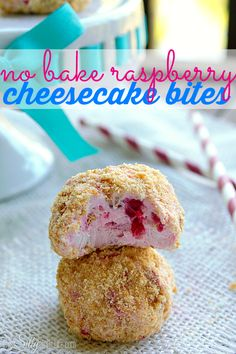 No Bake Raspberry Cheesecake Bites, so cute and easy, and are sure to curb your cheesecake craving in a jif! from ThisSillyGirlsLife.com Pinned over 102,000 times!