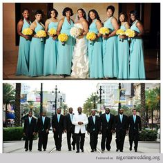 Nigerian Wedding bridal party in mint blue and yellow