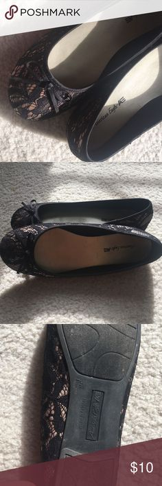 American Eagle Flats Pretty lace-patterned American Eagle flats! Worn once or twice. In great condition! American Eagle by Payless Shoes Flats & Loafers