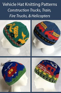 Knitting pattern for vehicle hats for children including front loader and dump truck. D train - child sized beanies. Baby Knitting Patterns, Baby Cardigan Knitting Pattern, Knitted Hats Kids, Knitting For Kids, Baby Boy Hats, Dump Truck, Train Tracks, Fire Trucks, Barn