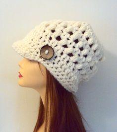 Brim Hat Beanie Knit Wool Ivory Hat with Button Newsboy Cap Crochet Slouchy Winter Hat Women Fashion Accessories Gift Ideas by GrahamsBazaar