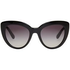 Dolce and Gabbana Black Cat-Eye Sunglasses ($305) ❤ liked on Polyvore featuring accessories, eyewear, sunglasses, occhiali, black, uv protection sunglasses, cat-eye glasses, dolce gabbana glasses, uv protection glasses and logo lens sunglasses