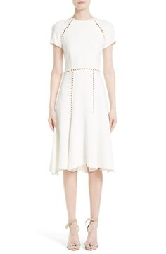 Jonathan Simkhai Imitation Pearl Embellished Fit & Flare Dress available at #Nordstrom