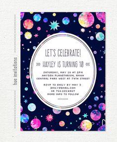 space birthday party invitation, 10th birthday invitation for girls, planets stars watercolor, digital invitation 5x7 jpg pdf 599