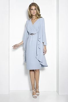 Sheath/Column V-neck Knee-length Jersey Mother of the Bride Dress